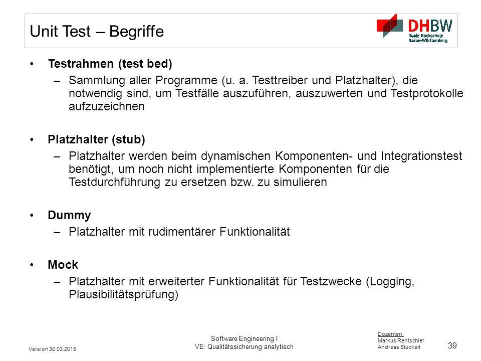 39 Dozenten: Markus Rentschler Andreas Stuckert Version 30.03.2015 Software Engineering I VE: Qualitätssicherung analytisch Unit Test – Begriffe Testrahmen (test bed) –Sammlung aller Programme (u.