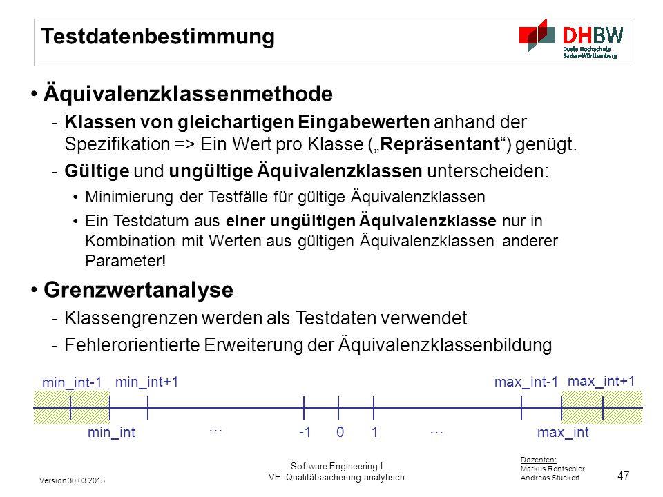 47 Dozenten: Markus Rentschler Andreas Stuckert Testdatenbestimmung Äquivalenzklassenmethode -Klassen von gleichartigen Eingabewerten anhand der Spezi