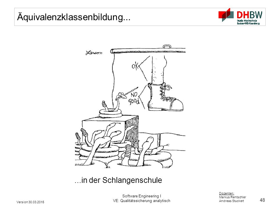 48 Dozenten: Markus Rentschler Andreas Stuckert Version 30.03.2015 Software Engineering I VE: Qualitätssicherung analytisch Äquivalenzklassenbildung..