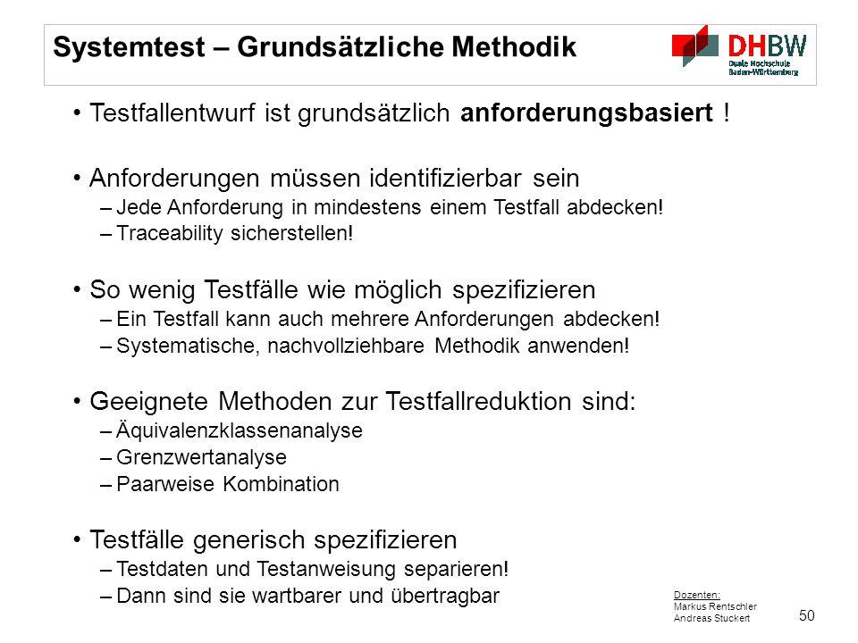50 Dozenten: Markus Rentschler Andreas Stuckert Systemtest – Grundsätzliche Methodik Testfallentwurf ist grundsätzlich anforderungsbasiert ! Anforderu