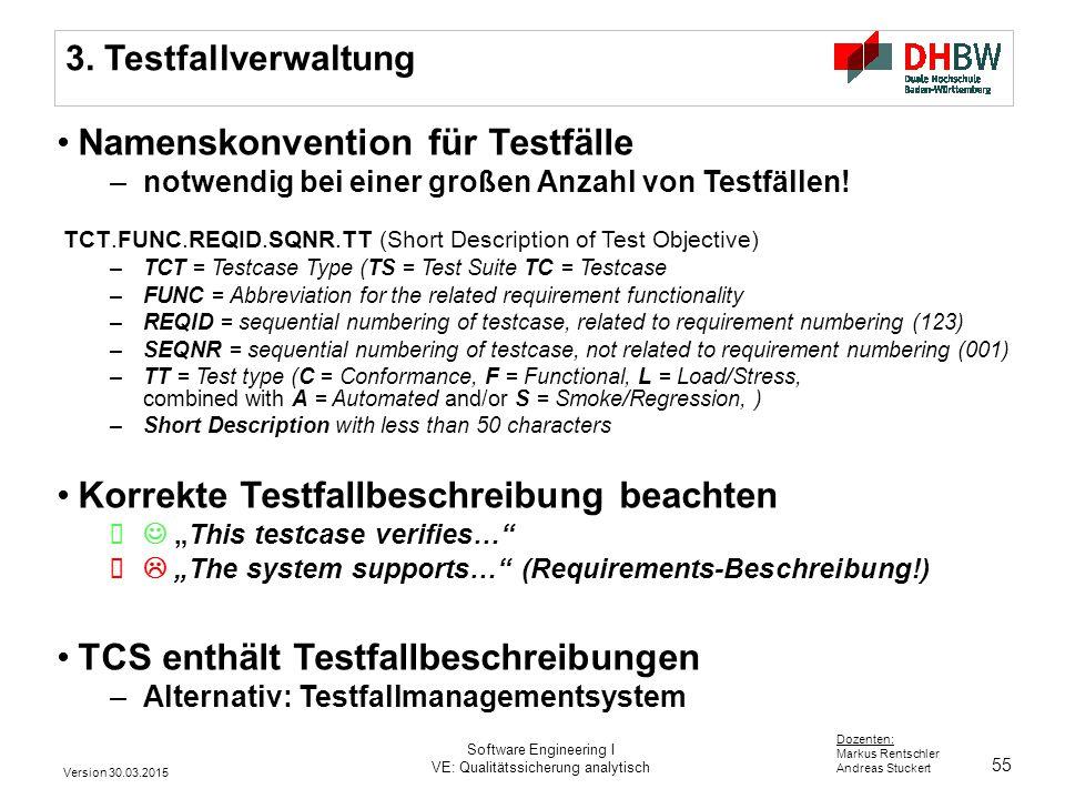 55 Dozenten: Markus Rentschler Andreas Stuckert 3. Testfallverwaltung Namenskonvention für Testfälle –notwendig bei einer großen Anzahl von Testfällen