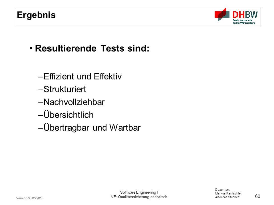 60 Dozenten: Markus Rentschler Andreas Stuckert Ergebnis Resultierende Tests sind: –Effizient und Effektiv –Strukturiert –Nachvollziehbar –Übersichtli