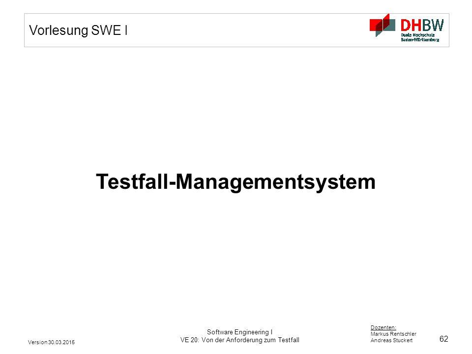62 Dozenten: Markus Rentschler Andreas Stuckert Version 30.03.2015 Software Engineering I VE 20: Von der Anforderung zum Testfall Vorlesung SWE I Test