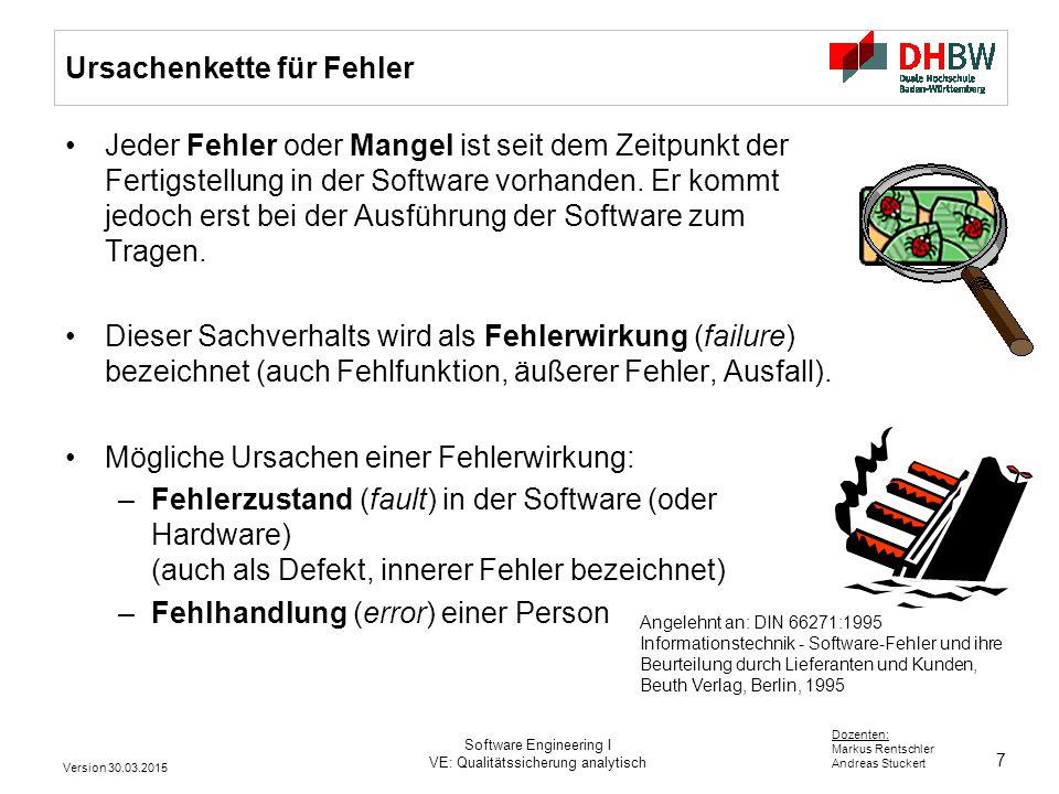 28 Dozenten: Markus Rentschler Andreas Stuckert Version 30.03.2015 Software Engineering I VE: Qualitätssicherung analytisch Ein Selbsttest Wie viele F kommen im folgenden Text vor.