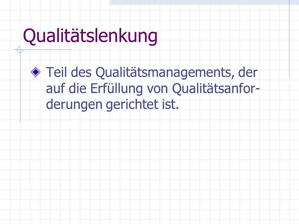 Qualitätslenkung Teil des Qualitätsmanagements, der auf die Erfüllung von Qualitätsanfor- derungen gerichtet ist.
