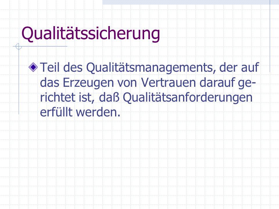Qualitätssicherung Teil des Qualitätsmanagements, der auf das Erzeugen von Vertrauen darauf ge- richtet ist, daß Qualitätsanforderungen erfüllt werden