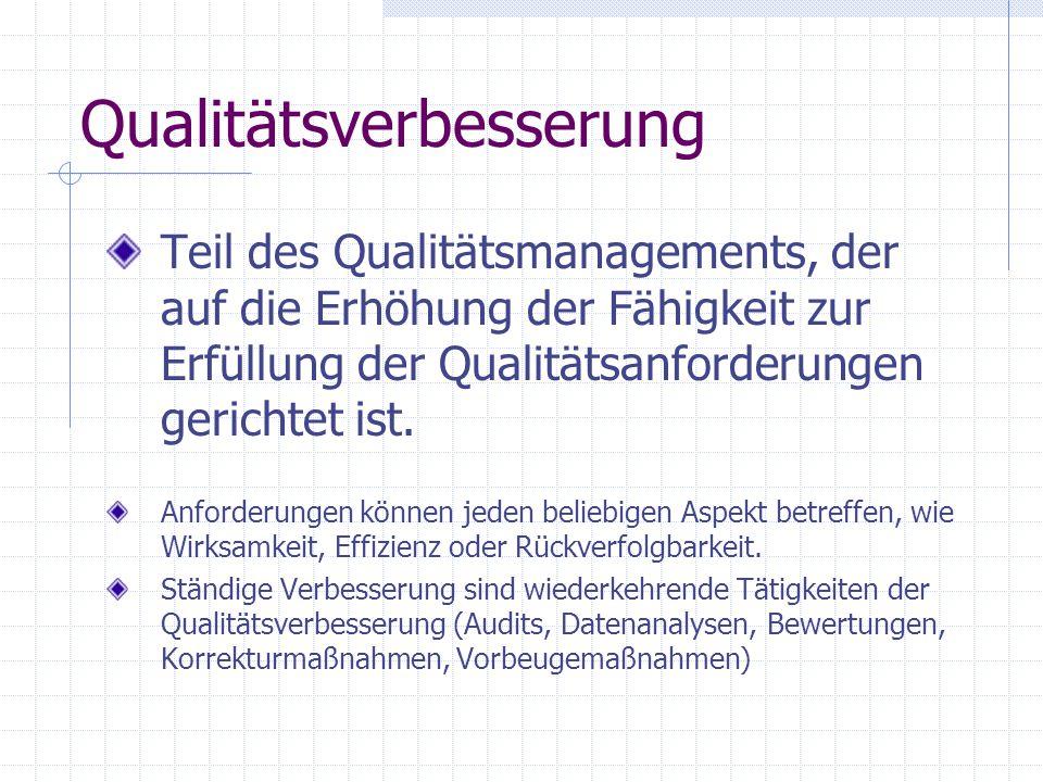 Qualitätsverbesserung Teil des Qualitätsmanagements, der auf die Erhöhung der Fähigkeit zur Erfüllung der Qualitätsanforderungen gerichtet ist. Anford