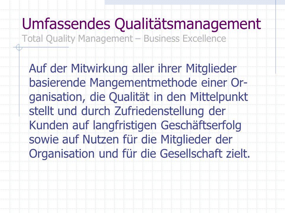 Umfassendes Qualitätsmanagement Total Quality Management – Business Excellence Auf der Mitwirkung aller ihrer Mitglieder basierende Mangementmethode e