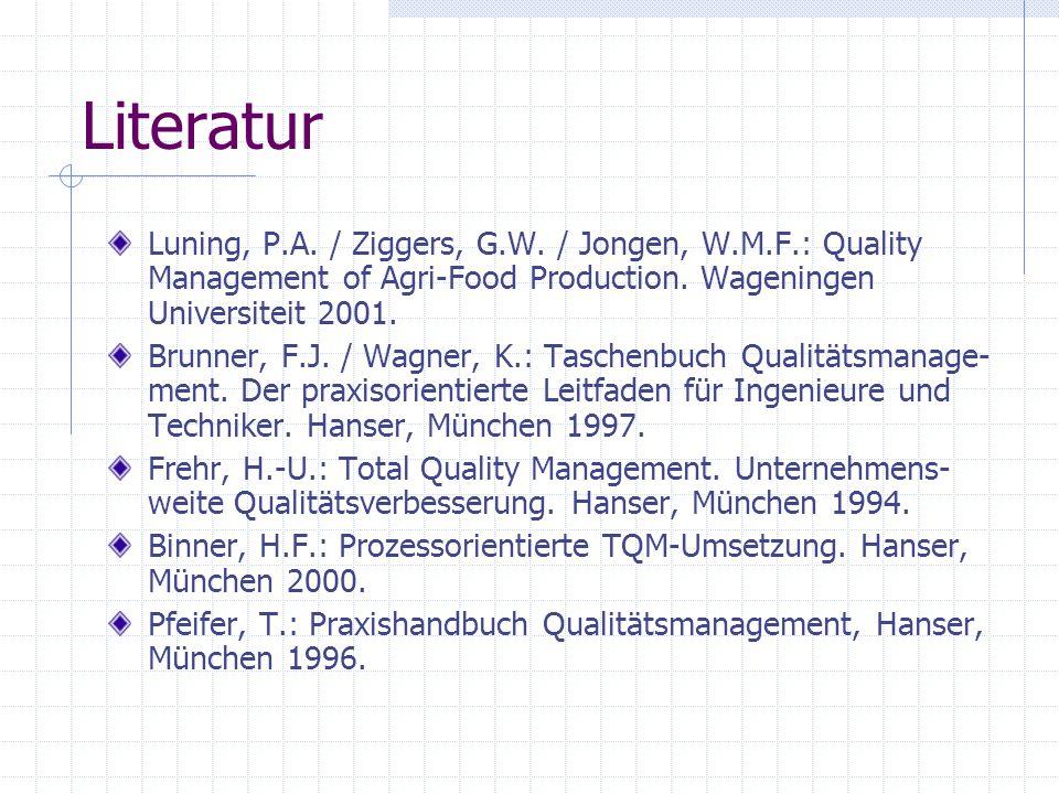 Literatur Luning, P.A. / Ziggers, G.W. / Jongen, W.M.F.: Quality Management of Agri-Food Production. Wageningen Universiteit 2001. Brunner, F.J. / Wag