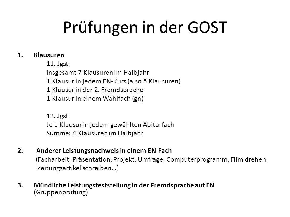 Prüfungen in der GOST 1.Klausuren 11. Jgst.