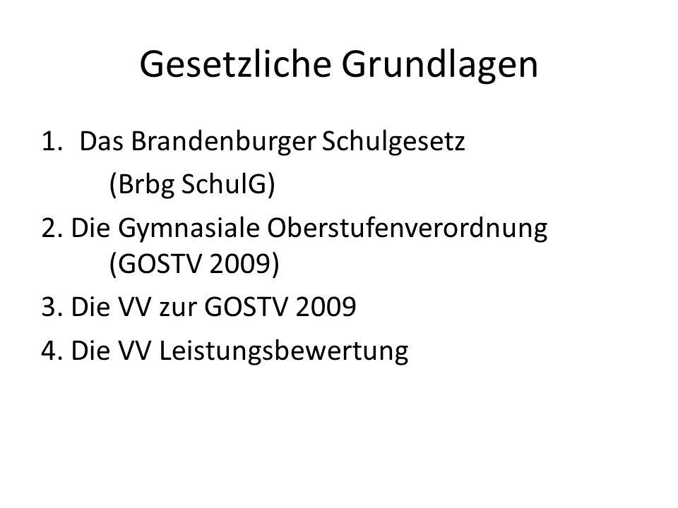 Gesetzliche Grundlagen 1.Das Brandenburger Schulgesetz (Brbg SchulG) 2.