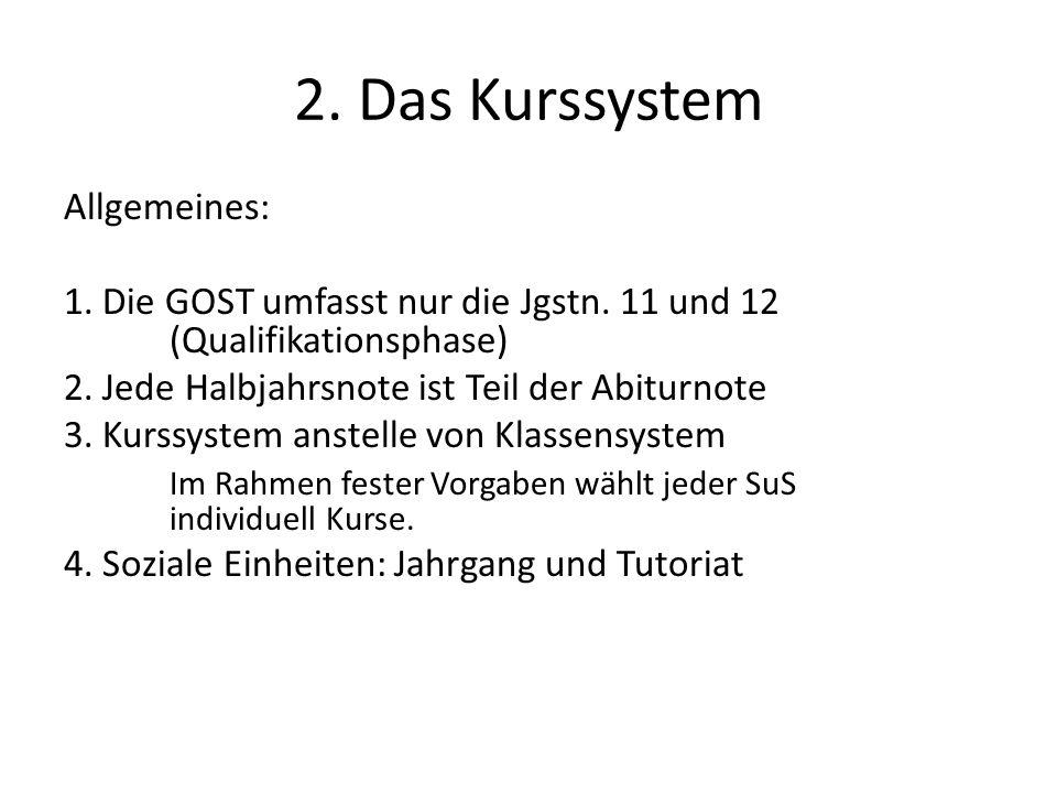 2. Das Kurssystem Allgemeines: 1. Die GOST umfasst nur die Jgstn.