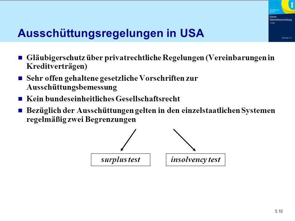 5.10 Ausschüttungsregelungen in USA n Gläubigerschutz über privatrechtliche Regelungen (Vereinbarungen in Kreditverträgen) n Sehr offen gehaltene gese
