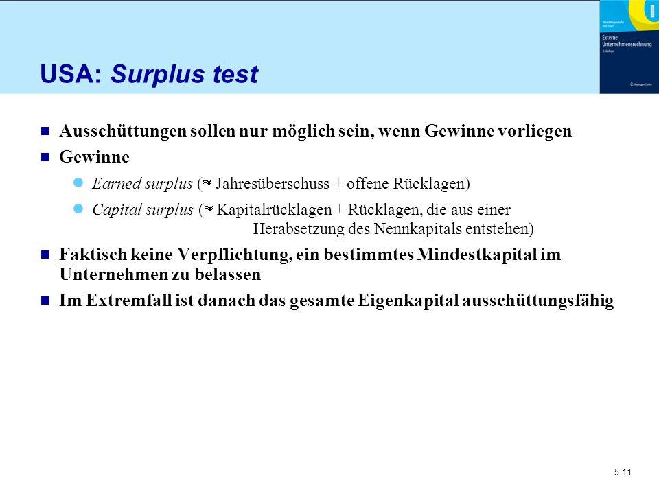 5.11 USA: Surplus test n Ausschüttungen sollen nur möglich sein, wenn Gewinne vorliegen n Gewinne Earned surplus (  Jahresüberschuss + offene Rücklag