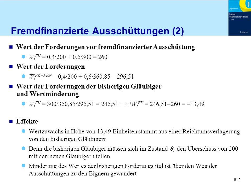 5.19 Fremdfinanzierte Ausschüttungen (2) n Wert der Forderungen vor fremdfinanzierter Ausschüttung W t FK = 0,4·200 + 0,6·300 = 260 n Wert der Forderu