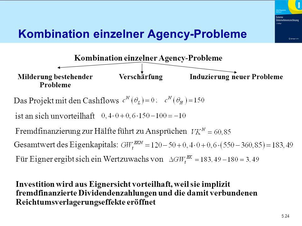 5.24 Kombination einzelner Agency-Probleme ist an sich unvorteilhaft Fremdfinanzierung zur Hälfte führt zu Ansprüchen Milderung bestehender Probleme V