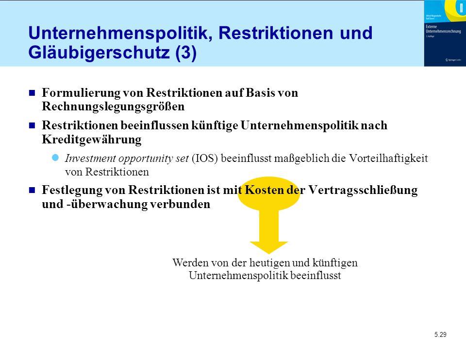 5.29 Werden von der heutigen und künftigen Unternehmenspolitik beeinflusst Unternehmenspolitik, Restriktionen und Gläubigerschutz (3) n Formulierung v