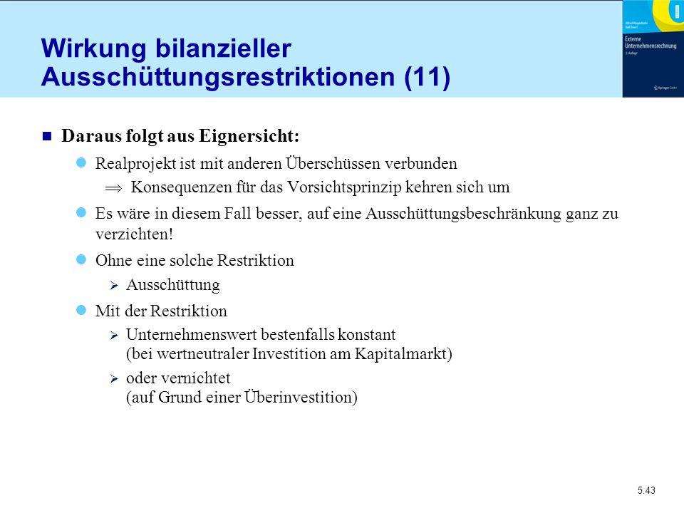 5.43 Wirkung bilanzieller Ausschüttungsrestriktionen (11) n Daraus folgt aus Eignersicht: Realprojekt ist mit anderen Überschüssen verbunden  Konsequ