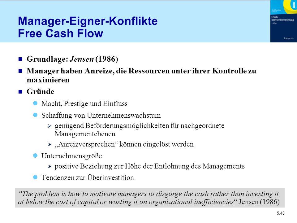 5.48 Manager-Eigner-Konflikte Free Cash Flow n Grundlage: Jensen (1986) n Manager haben Anreize, die Ressourcen unter ihrer Kontrolle zu maximieren n