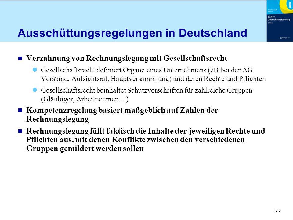 5.5 Ausschüttungsregelungen in Deutschland n Verzahnung von Rechnungslegung mit Gesellschaftsrecht Gesellschaftsrecht definiert Organe eines Unternehm
