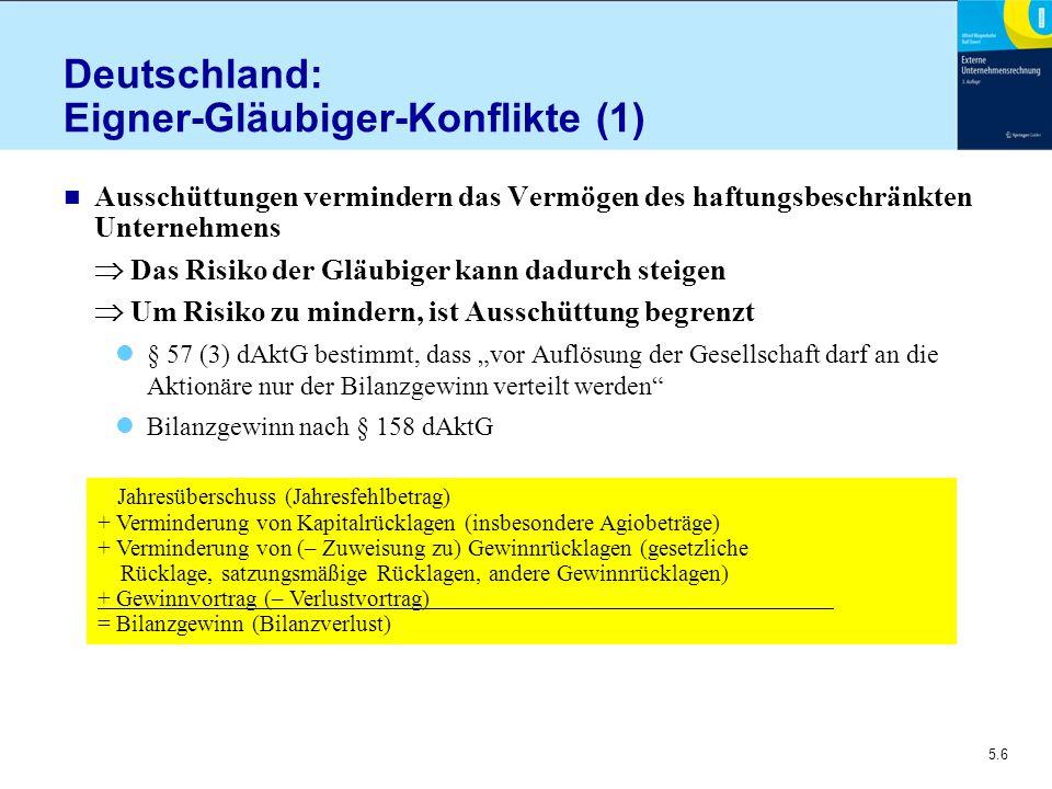 5.6 Deutschland: Eigner-Gläubiger-Konflikte (1) n Ausschüttungen vermindern das Vermögen des haftungsbeschränkten Unternehmens  Das Risiko der Gläubi