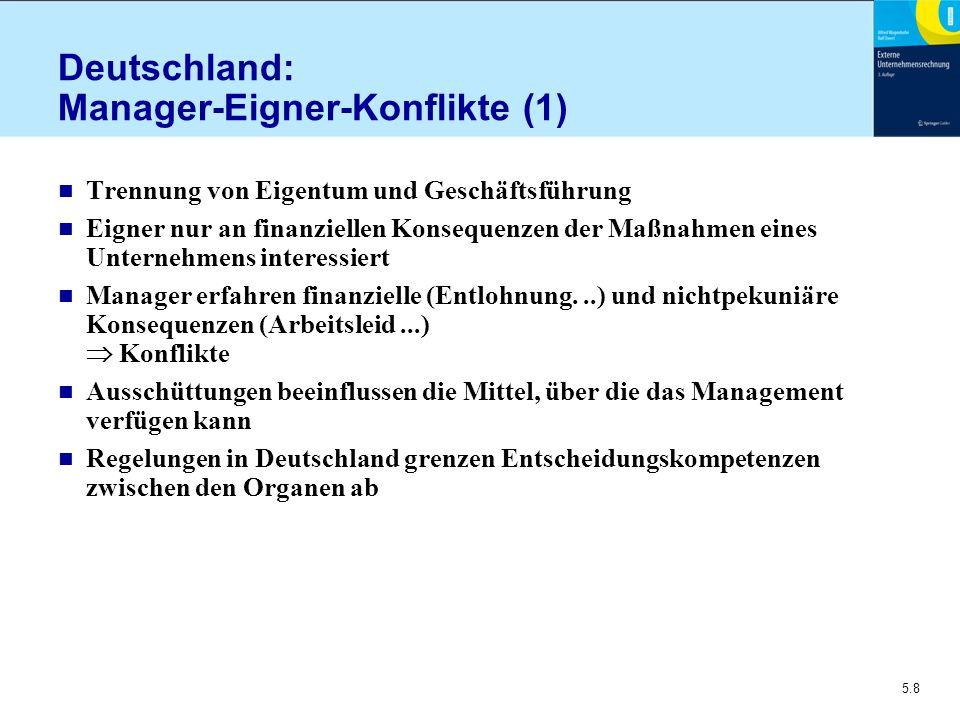 5.8 Deutschland: Manager-Eigner-Konflikte (1) n Trennung von Eigentum und Geschäftsführung n Eigner nur an finanziellen Konsequenzen der Maßnahmen ein