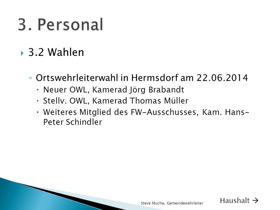  3.2 Wahlen ◦ Ortswehrleiterwahl in Hermsdorf am 22.06.2014  Neuer OWL, Kamerad Jörg Brabandt  Stellv. OWL, Kamerad Thomas Müller  Weiteres Mitgli