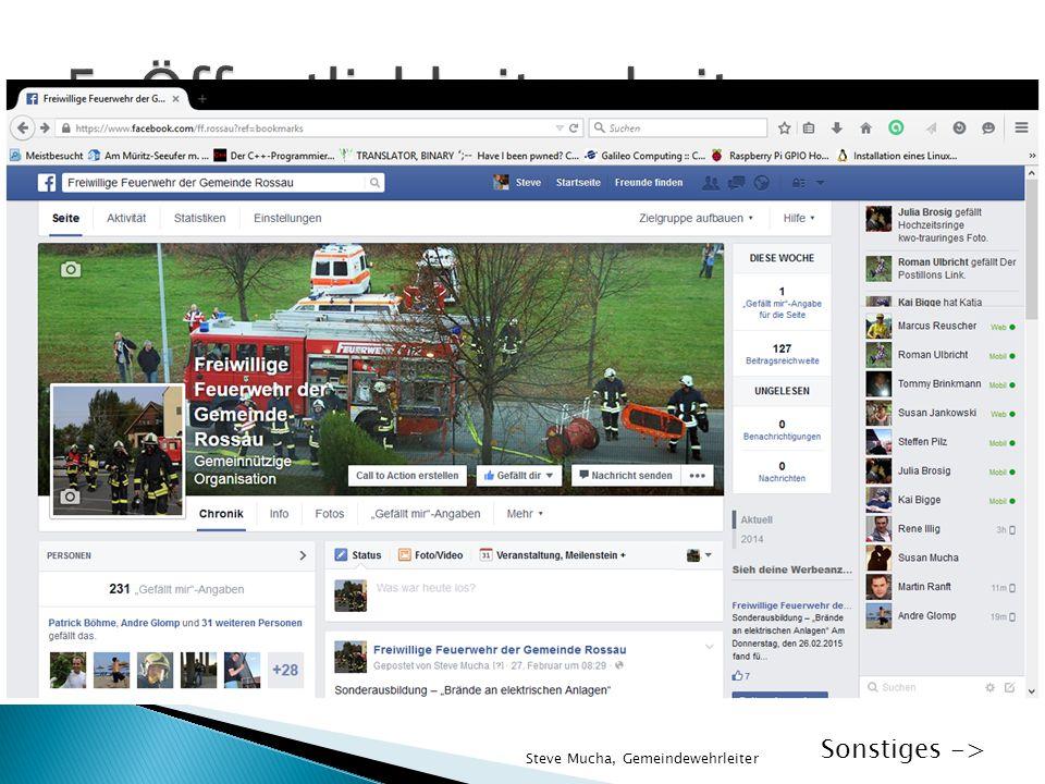  Feste organisiert durch FW-Vereine  Facebook-Seite der Feuerwehr Rossau  Internetseite der Feuerwehr Rossau ◦ Informationen für Interessierte ◦ Pa