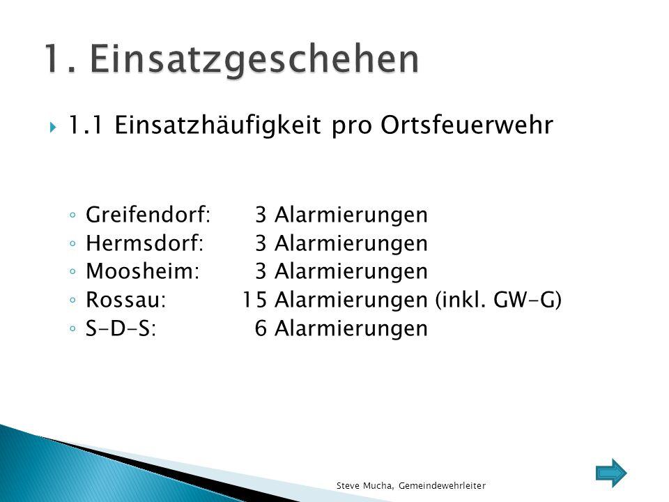  1.1 Einsatzhäufigkeit pro Ortsfeuerwehr ◦ Greifendorf: 3 Alarmierungen ◦ Hermsdorf: 3 Alarmierungen ◦ Moosheim: 3 Alarmierungen ◦ Rossau:15 Alarmier