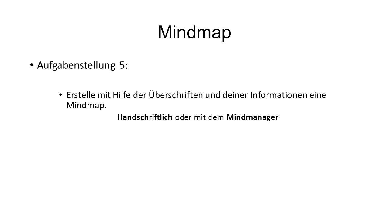Mindmap Aufgabenstellung 5: Erstelle mit Hilfe der Überschriften und deiner Informationen eine Mindmap. Handschriftlich oder mit dem Mindmanager