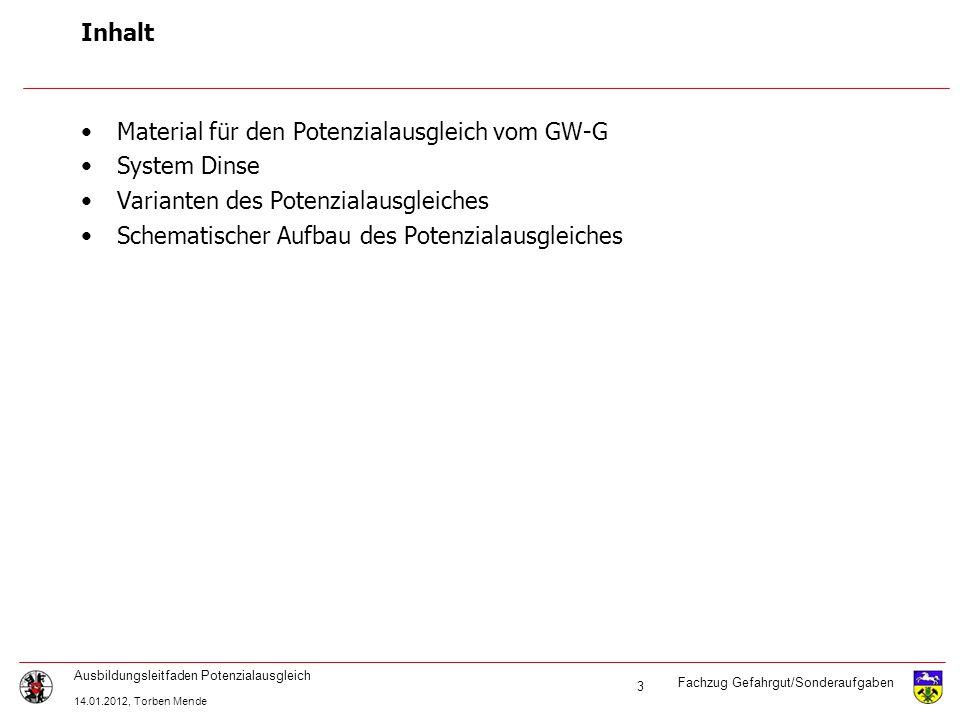 Fachzug Gefahrgut/Sonderaufgaben Ausbildungsleitfaden Potenzialausgleich 14.01.2012, Torben Mende 3 Inhalt Material für den Potenzialausgleich vom GW-