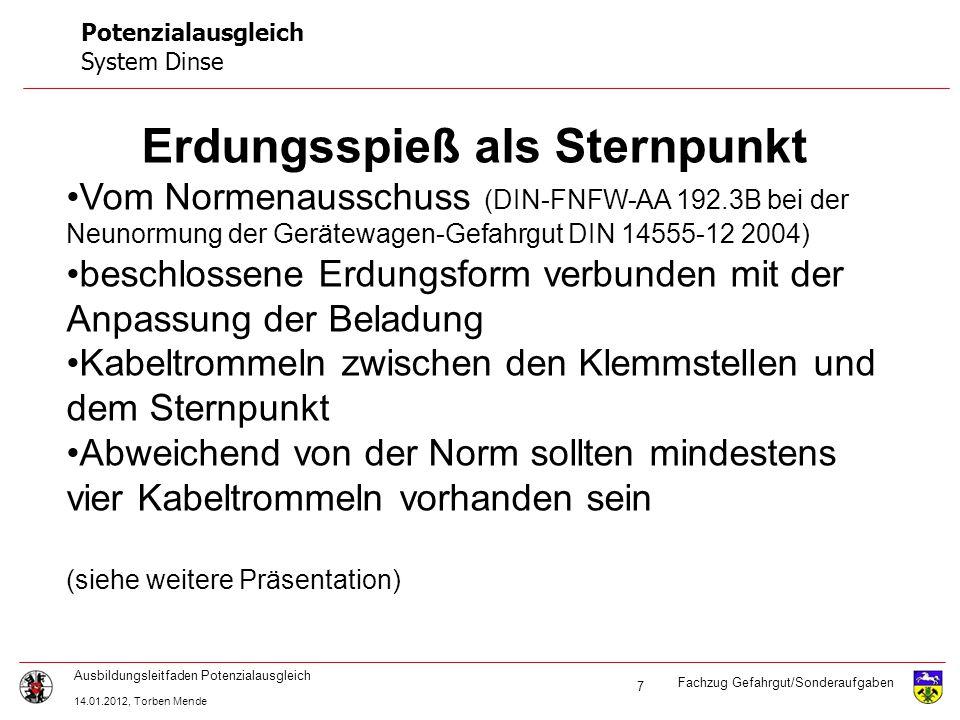 Fachzug Gefahrgut/Sonderaufgaben Ausbildungsleitfaden Potenzialausgleich 14.01.2012, Torben Mende 7 Potenzialausgleich System Dinse Erdungsspieß als S