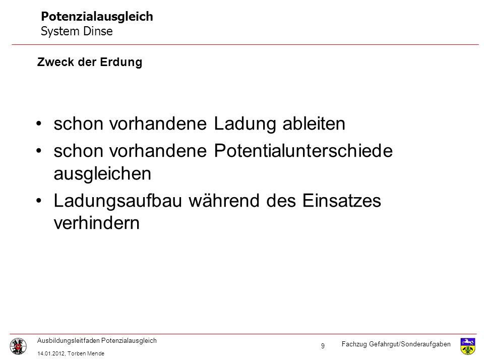 Fachzug Gefahrgut/Sonderaufgaben Ausbildungsleitfaden Potenzialausgleich 14.01.2012, Torben Mende 9 Potenzialausgleich System Dinse Zweck der Erdung s