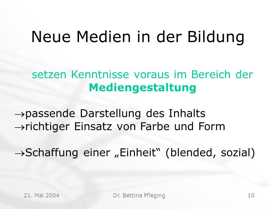 21. Mai 2004Dr. Bettina Pfleging10 Neue Medien in der Bildung setzen Kenntnisse voraus im Bereich der Mediengestaltung passende Darstellung des Inhal