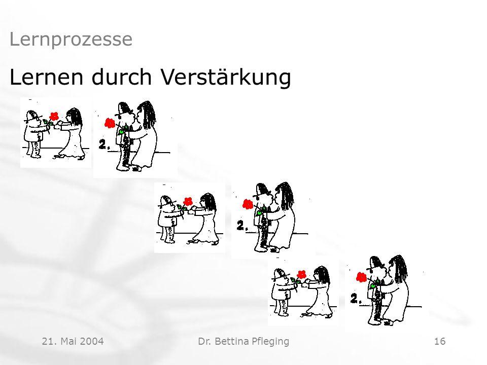 21. Mai 2004Dr. Bettina Pfleging16 Lernprozesse Lernen durch Verstärkung