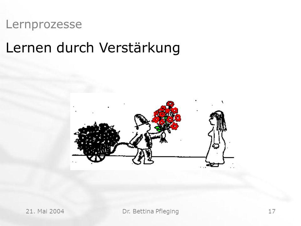 21. Mai 2004Dr. Bettina Pfleging17 Lernprozesse Lernen durch Verstärkung