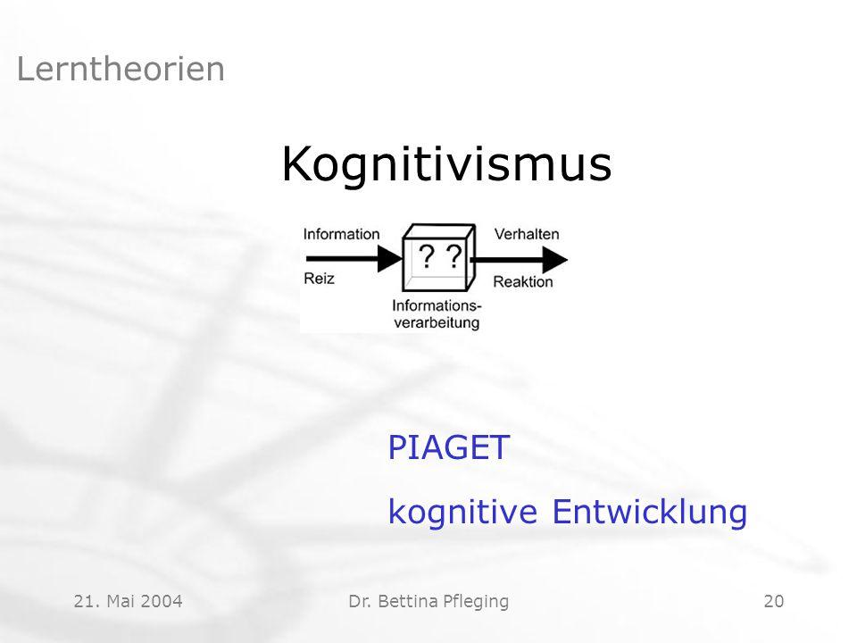 21. Mai 2004Dr. Bettina Pfleging20 Lerntheorien Kognitivismus PIAGET kognitive Entwicklung