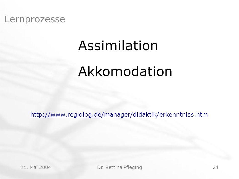 21. Mai 2004Dr. Bettina Pfleging21 Lernprozesse Assimilation Akkomodation http://www.regiolog.de/manager/didaktik/erkenntniss.htm