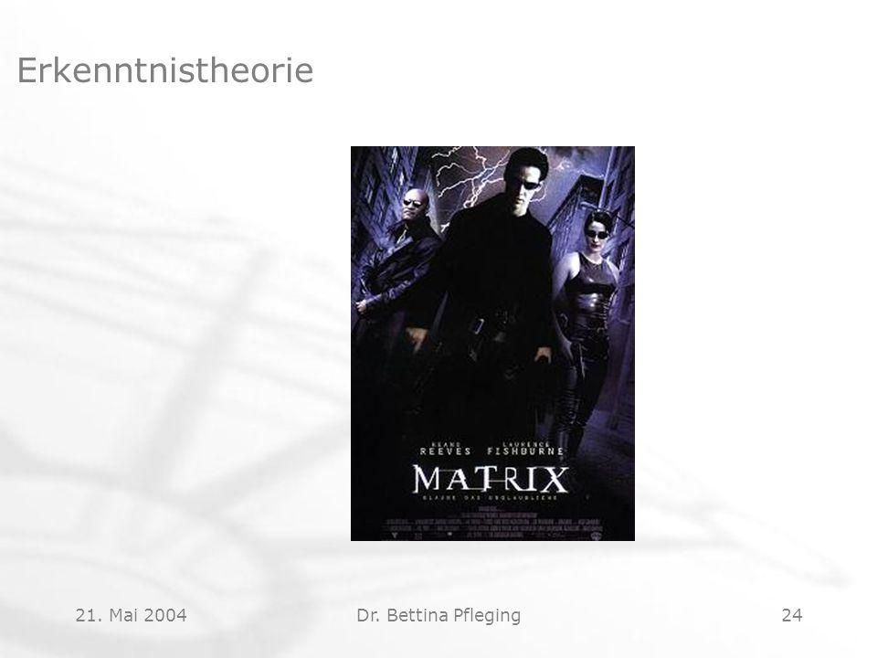 21. Mai 2004Dr. Bettina Pfleging24 Erkenntnistheorie