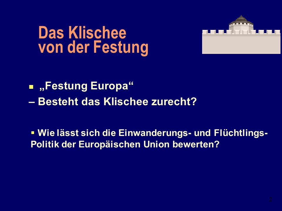 1 Festung Europa? Die Einwanderungs- und Flüchtlingspolitik der Europäischen Union Dr. Petra Bendel, Universität Erlangen-Nürnberg