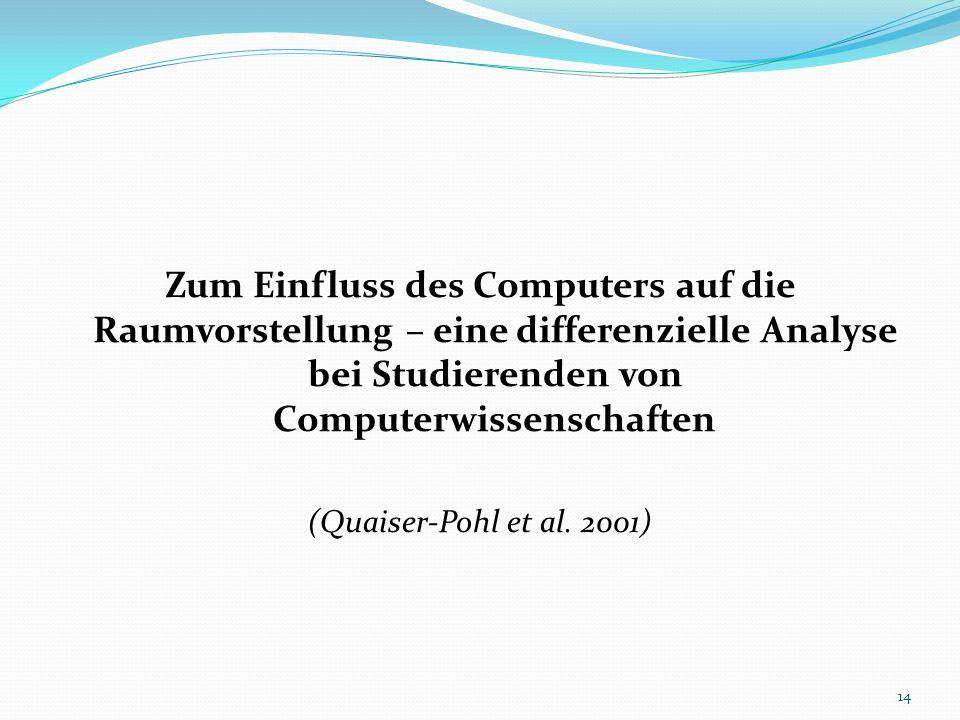 Zum Einfluss des Computers auf die Raumvorstellung – eine differenzielle Analyse bei Studierenden von Computerwissenschaften (Quaiser-Pohl et al. 2001