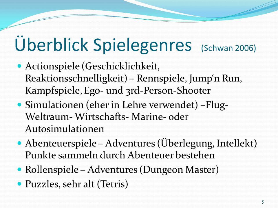 Überblick Spielegenres (Schwan 2006) Actionspiele (Geschicklichkeit, Reaktionsschnelligkeit) – Rennspiele, Jump'n Run, Kampfspiele, Ego- und 3rd-Perso