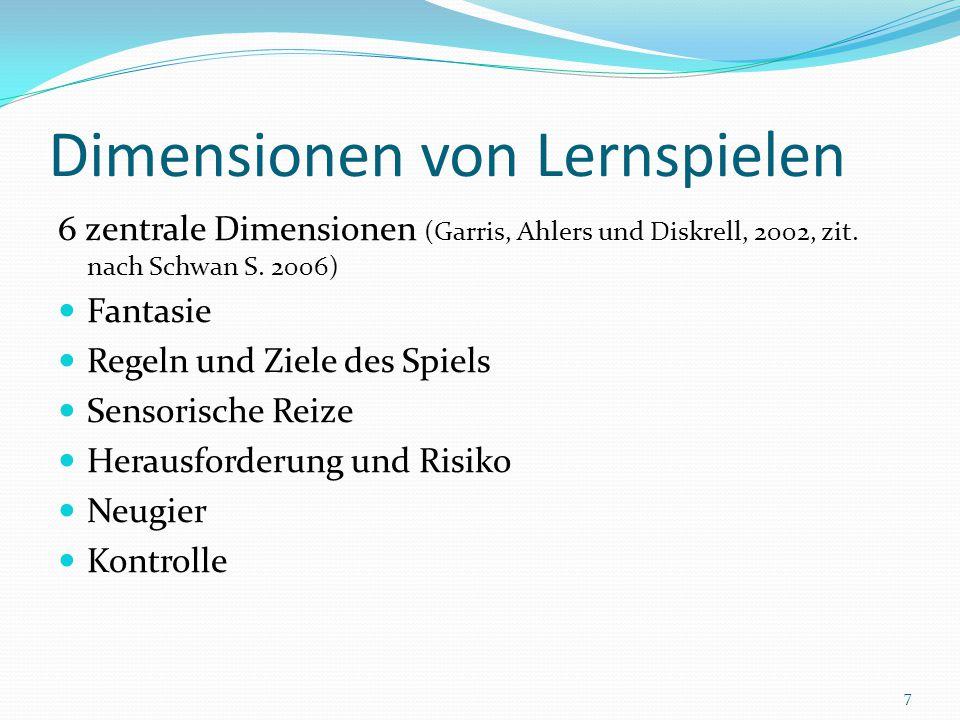 Dimensionen von Lernspielen 6 zentrale Dimensionen (Garris, Ahlers und Diskrell, 2002, zit. nach Schwan S. 2006) Fantasie Regeln und Ziele des Spiels