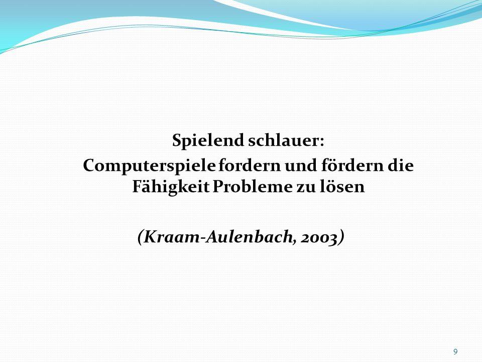 Spielend schlauer: Computerspiele fordern und fördern die Fähigkeit Probleme zu lösen (Kraam-Aulenbach, 2003) 9