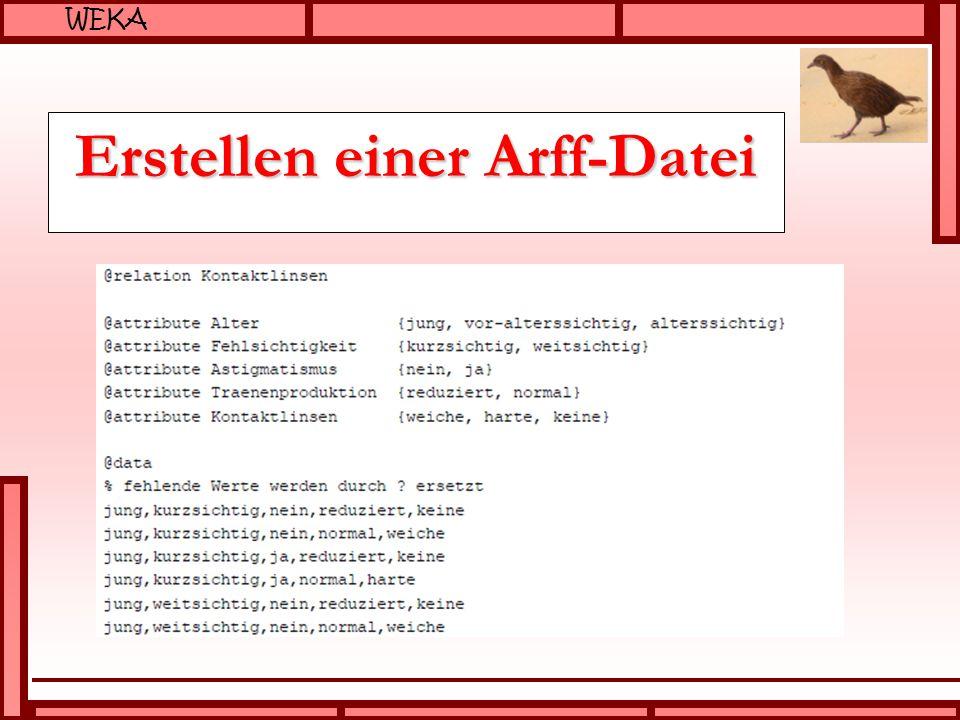 WEKA Erstellen einer Arff-Datei