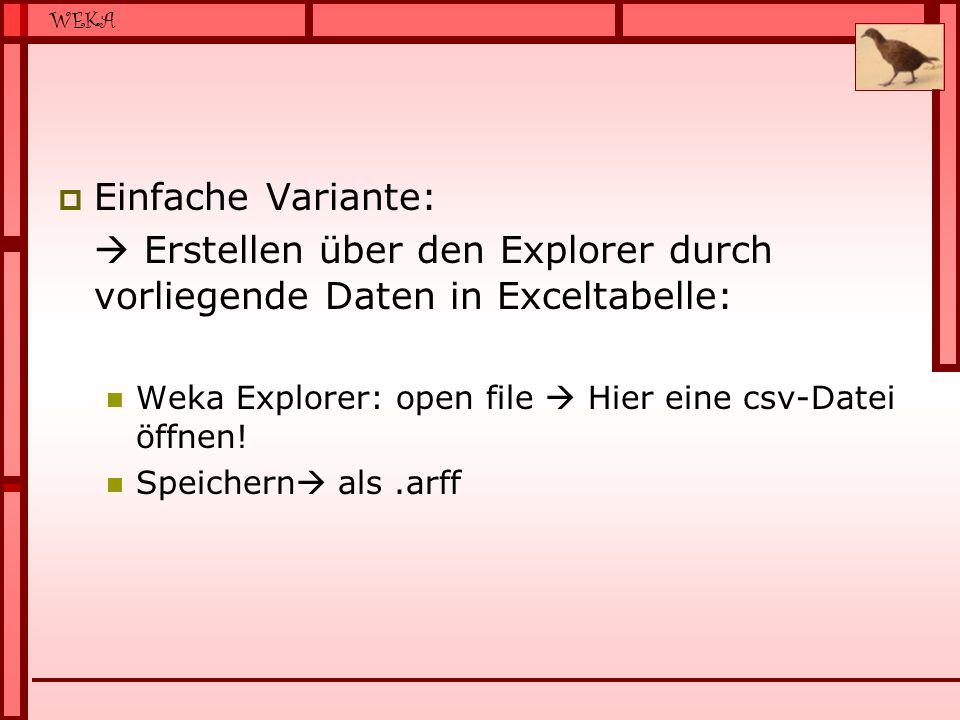 WEKA  Einfache Variante:  Erstellen über den Explorer durch vorliegende Daten in Exceltabelle: Weka Explorer: open file  Hier eine csv-Datei öffnen.