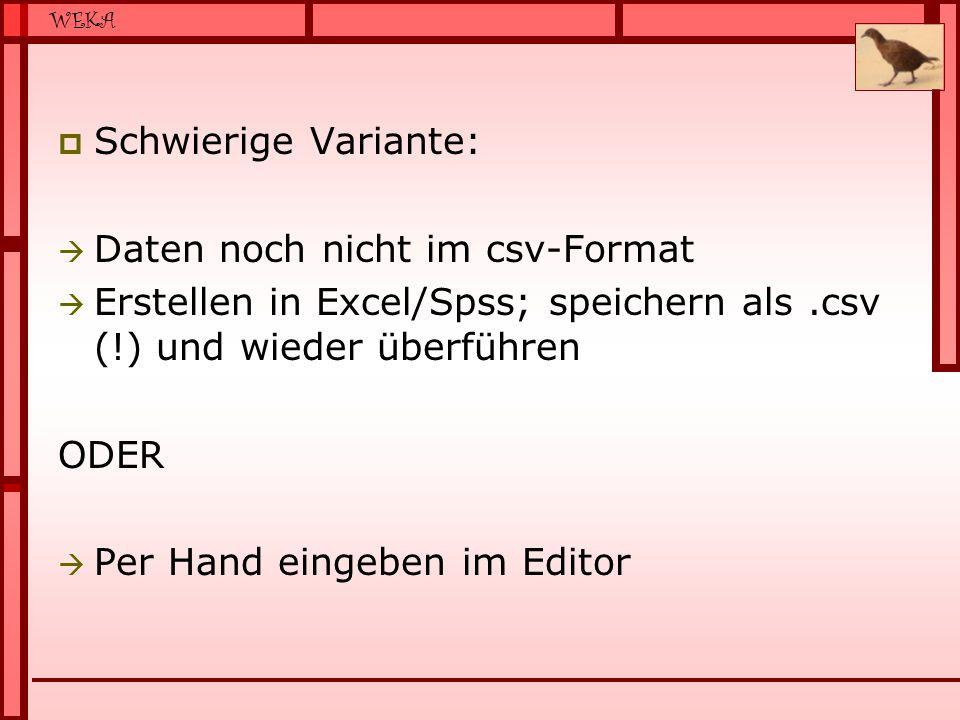 WEKA  Schwierige Variante:  Daten noch nicht im csv-Format  Erstellen in Excel/Spss; speichern als.csv (!) und wieder überführen ODER  Per Hand eingeben im Editor