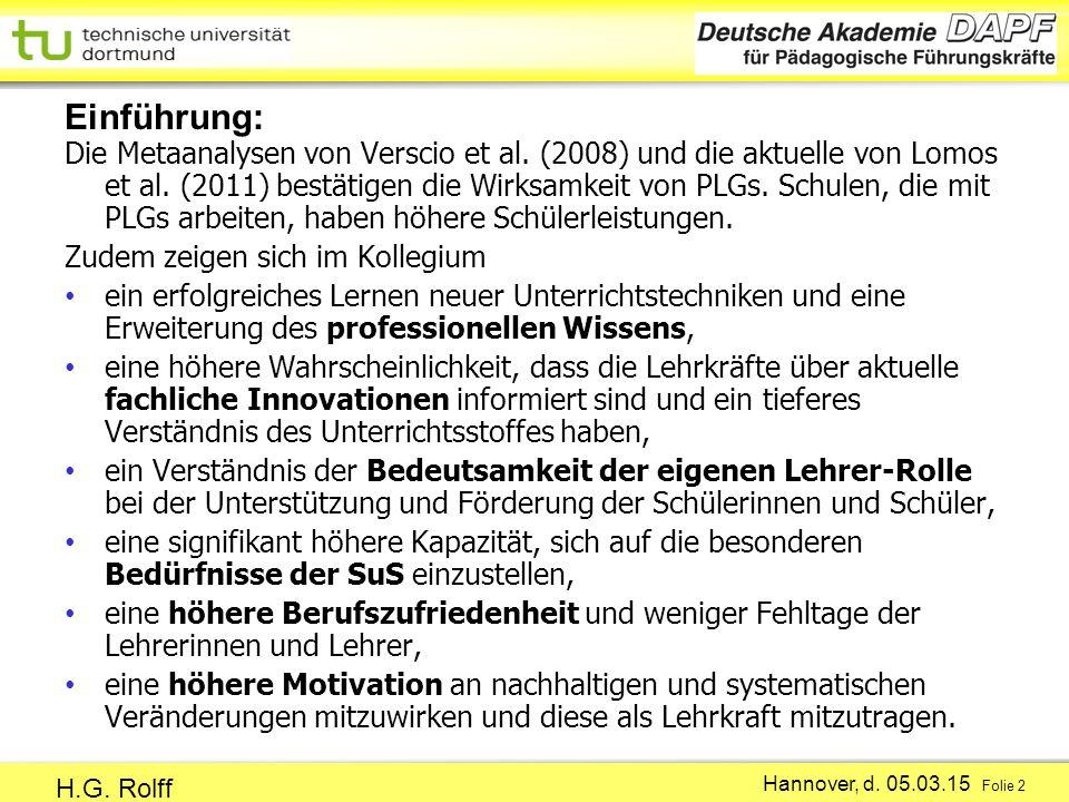 Hannover, d.05.03.15 Folie 2 H.G. Rolff Die Metaanalysen von Verscio et al.