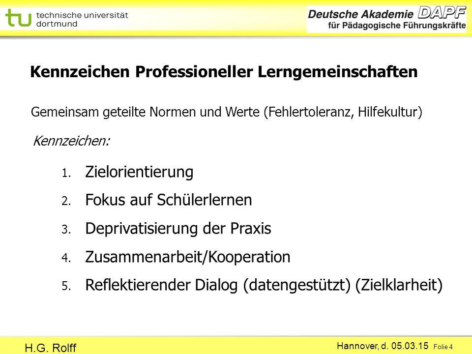 Hannover, d.05.03.15 Folie 4 H.G. Rolff 1. Zielorientierung 2.