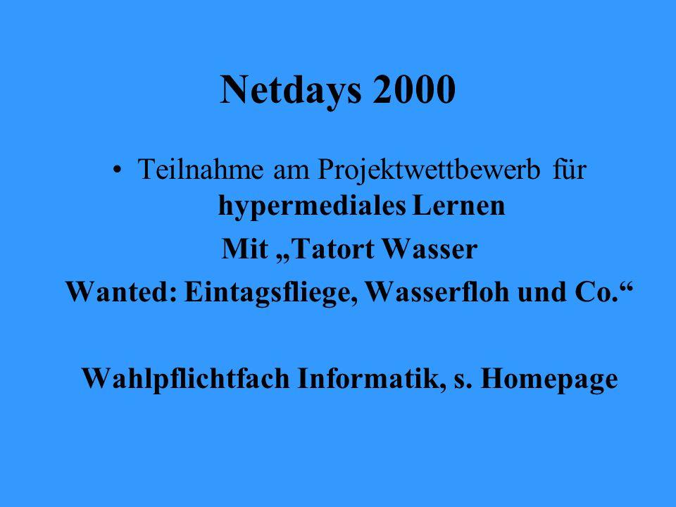 """Netdays 2000 Teilnahme am Projektwettbewerb für hypermediales Lernen Mit """"Tatort Wasser Wanted: Eintagsfliege, Wasserfloh und Co. Wahlpflichtfach Informatik, s."""